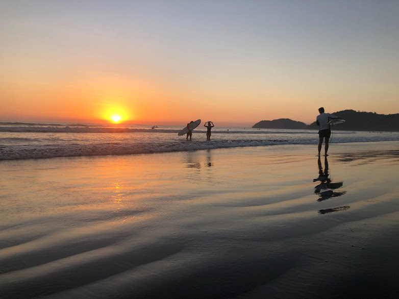 Jaco Beach Costa Rica Sunset & Surfers. 2019