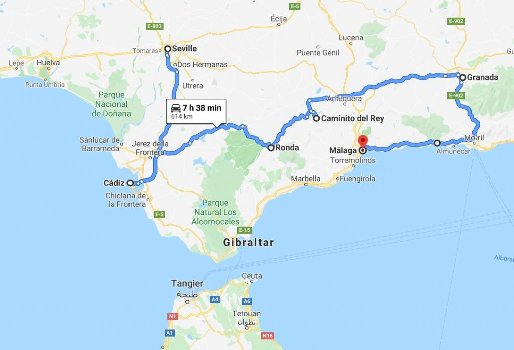 Map of Andalucia Road Trip, Spain
