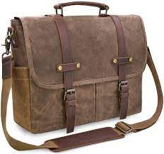 Amazon.com: Mens Messenger Bag 15.6 Inch Waterproof Vintage Genuine Leather  Waxed Canvas Briefcase Large Satchel Shoulder Bag Rugged Leather Computer  Laptop Bag, Brown: Computers & Accessories
